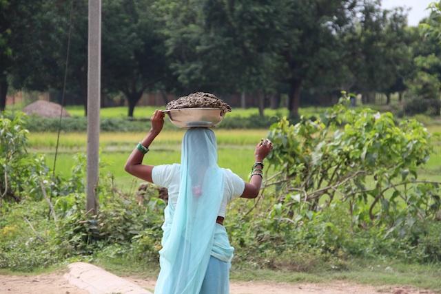 1糞を頭に載せる女性