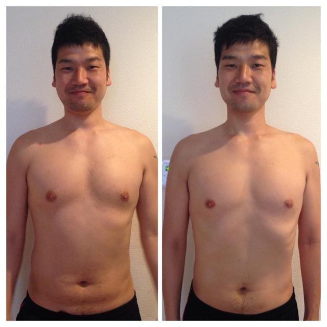 ダイエット 7.7キロ減 Before after 前から